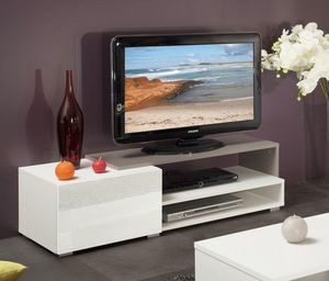WHITE LABEL - pacific meuble tv couleur blanc et taupe laqué bri - Meuble Tv Hi Fi
