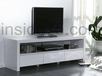 WHITE LABEL - white meuble tv avec 3 tiroirs, laqué blanc brilla - Meuble Tv Hi Fi