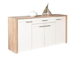 WHITE LABEL - buffet absoluto 4 portes et 1 tiroir en bois blanc - Buffet Bas