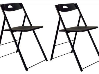 Domitalia - lot de 2 chaises pliantes icon noire. - Chaise Pliante