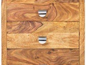 WHITE LABEL - caisson sur roulette wood 3 tiroirs - Table De Chevet