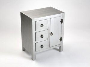 WHITE LABEL - matmata chevêt bois 3 tiroirs 1 porte argent - Table De Chevet