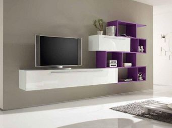 WHITE LABEL - meuble tv design primera shelf blanc brillant et l - Meuble Tv Hi Fi