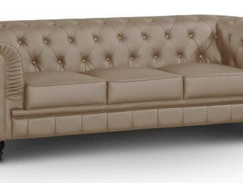 WHITE LABEL - canapé fixe chesterfield royal 3 places taupe - Canapé Chesterfield