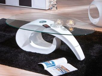 WHITE LABEL - table basse coisa laque blanche en verre - Table Basse Ovale
