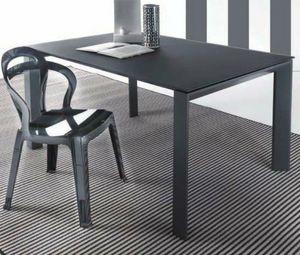 WHITE LABEL - table repas extensible sliver en verre, 120 x 80 c - Table De Repas Rectangulaire