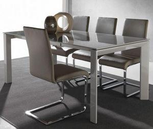 WHITE LABEL - table repas extensible sliver 120 x 80 cm en verre - Table De Repas Rectangulaire
