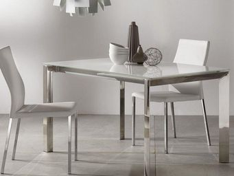 WHITE LABEL - table repas extensible titanium 130 x 80 cm verre  - Table De Repas Rectangulaire