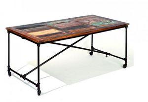 WHITE LABEL - table repas unique coffee en bois de manguier recy - Table De Repas Rectangulaire