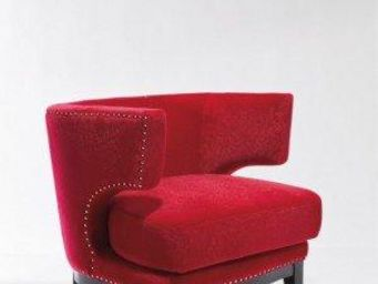 WHITE LABEL - fauteuil prince velours rouge - Fauteuil