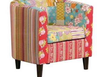 WHITE LABEL - fauteuil summerset en patchwork avec accoudoirs - Fauteuil