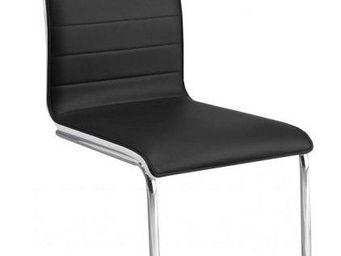 WHITE LABEL - chaises design sydney assise façon cuir noir dossi - Chaise