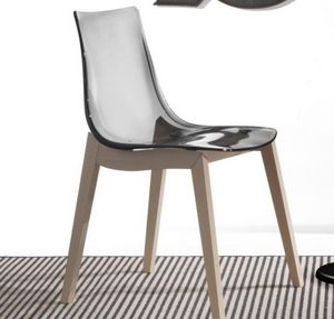 WHITE LABEL - chaise orbital wood design fum� et h�tre blanchi - Chaise