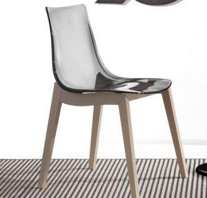 WHITE LABEL - chaise orbital wood design fumé et hêtre blanchi - Chaise