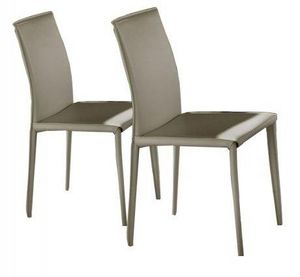 WHITE LABEL - lot de 2 chaises design cathy en simili cuir taupe - Chaise