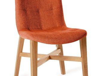 WHITE LABEL - chaise design florence orange en ch�ne massif - Chaise