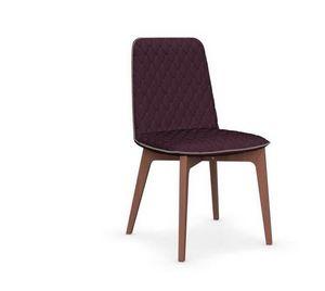 Calligaris - chaise sami en h�tre et tissu aubergine de calliga - Chaise