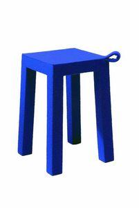 WHITE LABEL - handle bleu temahome tabouret en bois et tissu - Tabouret
