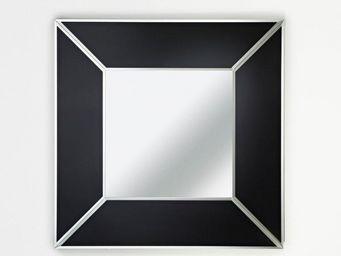 WHITE LABEL - diamant miroir mural design en verre noir - Miroir