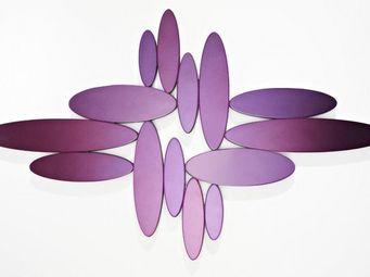 WHITE LABEL - yonaguni miroirs ovales en verre mauve biseauté - Miroir
