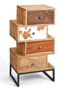 WHITE LABEL - commode sua 4 tiroirs en bois de manguier recycle - Commode