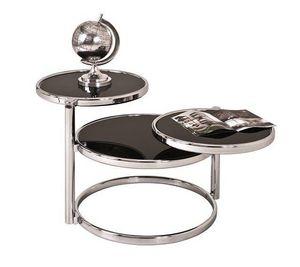 WHITE LABEL - table basse venda en verre teinté noir. - Table Basse Ronde