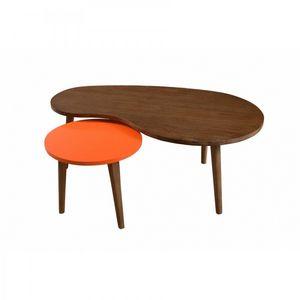 WHITE LABEL - table gigogne lucas bicolore style colonial en min - Table Basse Forme Originale