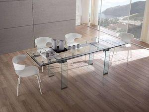WHITE LABEL - table design extensible vitro. - Table De Repas Rectangulaire