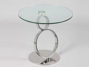 WHITE LABEL - bout de canapé ring en verre - Bout De Canapé