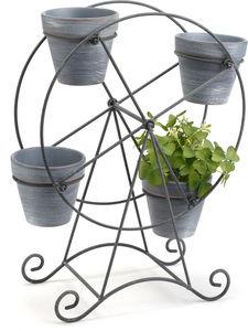 Amadeus - cache pot grande roue en métal et pierre - Cache Pot