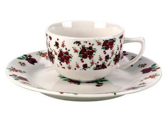 Interior's - tasse et sa sous-tasse rose rouge - Tasse À Thé
