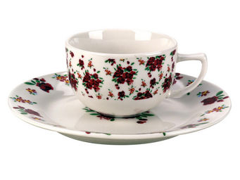 Interior's - tasse et sa sous-tasse rose rouge - Tasse � Th�