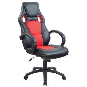 WHITE LABEL - fauteuil de bureau sport cuir rouge - Fauteuil De Bureau