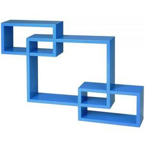WHITE LABEL - étagère murale x3 cube design bleu - Etagère