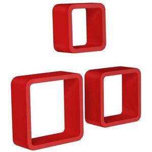 WHITE LABEL - étagère murale x3 cube design rouge - Etagère