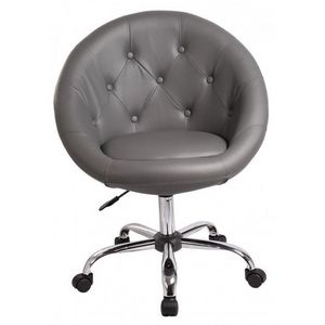 WHITE LABEL - fauteuil lounge pivotant cuir gris - Fauteuil Rotatif