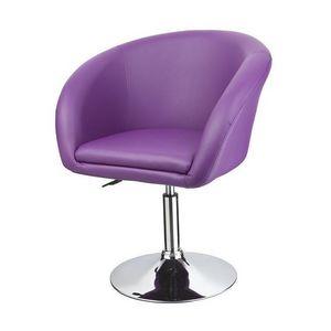 WHITE LABEL - fauteuil lounge pivotant cuir violet - Fauteuil Rotatif