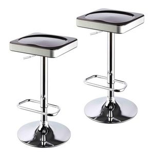 WHITE LABEL - lot de 2 tabourets de bar noir et argent - Tabouret De Bar