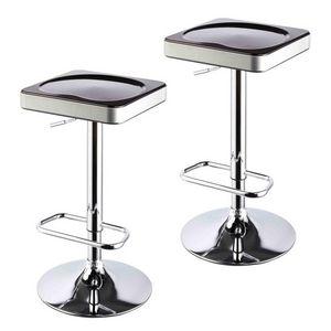 WHITE LABEL - lot de 2 tabourets de bar noir et argent - Tabouret De Bar