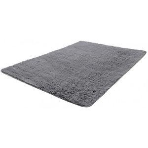 WHITE LABEL - tapis salon gris poil long taille l - Tapis Contemporain