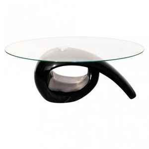WHITE LABEL - table basse design noir verre - Table Basse Ovale