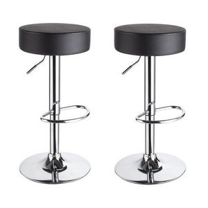 WHITE LABEL - lot de 2 tabourets de bar noir - Tabouret De Bar