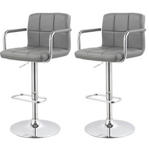 WHITE LABEL - lot de 2 tabourets de bar grise - Chaise Haute De Bar