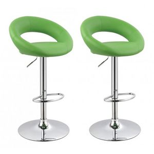 WHITE LABEL - lot de 2 tabourets de bar rembourré vert - Chaise Haute De Bar