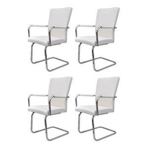 WHITE LABEL - 4 chaises de salle à manger blanche - Chaise