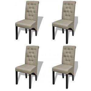 WHITE LABEL - 4 chaises de salle a manger beige - Chaise