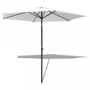 WHITE LABEL - parasol de jardin manivelle ø 3m crème - Parasol Télescopique
