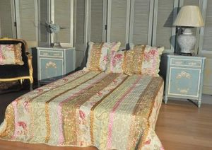 Demeure et Jardin - boutis lit double imprim� fleurs avec ruban - Couvre Lit