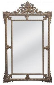 Demeure et Jardin - grande glace à pareclose patine dorée vieillie - Miroir