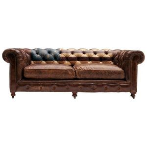 Mathi Design - canapé chesterfield en cuir - Canapé Chesterfield